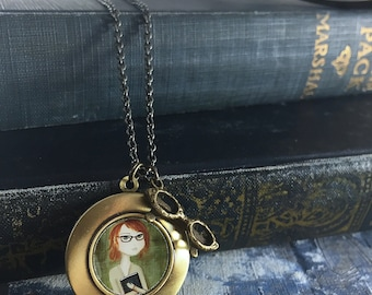 Redhead Reader Locket Necklace - antique style locket, great gift for bookworms and teachers