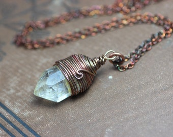 Yellow Citrine Necklace Antiqued Copper Wire Wrapped Citrine Pendant Yellow Gemstone Crystal Point Rustic Jewelry