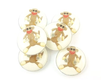 "6 SMALL Sock Monkey Buttons.  Novelty Buttons.  Decorative Buttons.  Craft Buttons. 1/2"" or 13 mm."