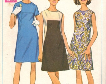 Simplicity 7535 1960s Misses A Line Dress Pattern Architectural Contrast Womens Vintage Sewing Pattern Size 9 Bust 32 OR Size 11 Bust 33