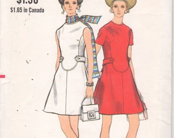Vogue 7807 1960s Misses Mod A Line Dress Pattern Seam Interest Womens Vintage Sewing Pattern Size 14 Bust 36 UNCUT