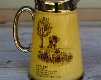 Antique Silver Trim Nursery Rhyme Pitcher, Little Miss Muffet