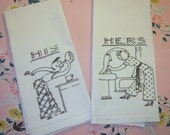 Vintage Embroidered His & Her Towel Pair He Shaves She Washes