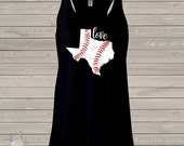 Love home state baseball DARK flowy tank top - great gift for birthday or Mother's Day