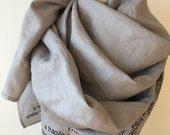 020 gray linen poetry scarf e.e. cummings