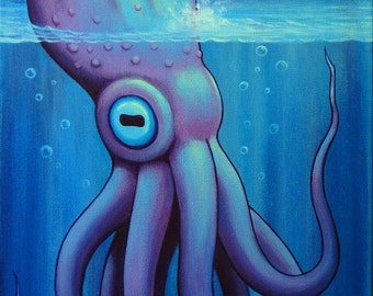 "Murky Depths VI, original acrylic painting on canvas by Eden Bachelder, 24"" x 12"", sea monster, octopus, squid"
