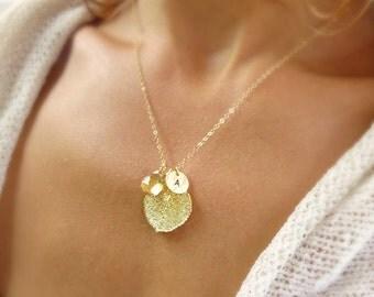 Gold dipped leaf necklace, aspen leaf necklace, birthstone necklace, personalized leaf necklace, fall wedding, mothers necklace, otis b