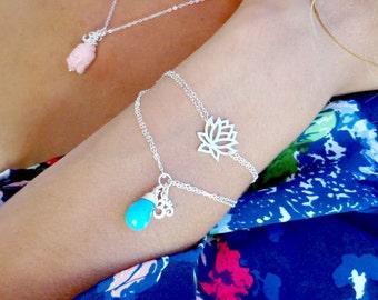 Om charm bracelet, turquoise bracelet with om symbol, yoga jewelry, zen, bhuddist, namaste, yogi jewelry, sterling silver charm bracelet