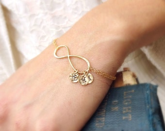 Personalized Infinity bracelet, friendship bracelet, mothers bracelet, sisters, best friend gift, bff, holiday gift idea, briguysgirls