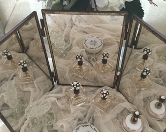 Gorgeous Vintage Boudoir 3-Way Vanity Dresser Mirror - Hanging Mirror - French Mirror