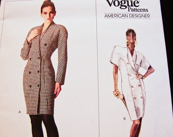 Vogue Patterns Calvin Klein Misses' Dress Size 12 UNCUT Vogue Designer Pattern Double Breasted Dress, Shawl Collar