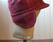 Woodsman XS: cozy winter earflap hat in maroon wool plaid, upcycled wool hat for boy or girl, warm furry ear flap hat, hipster flap hat