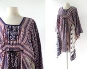 70s Cotton Dress / Cotton Kaftan / 1970s Dress / One Size