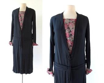 Vintage 1920s Dress / Pickford / Black Floral Dress / 20s Dress / S M