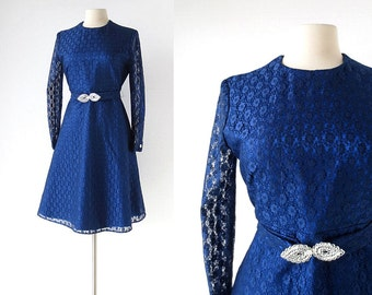 1960s Party Dress / Blue Lace Dress / 60s Dress / Medium M