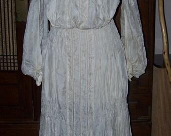 Beautiful Antique Edwardian Off White Silk Petticoat Skirt Blouse Wedding Lace Work Boudoir PROJECT
