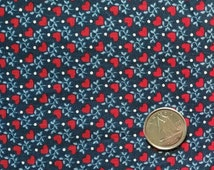 BL049 ~ Navy fabric Blue fabric Red hearts Tiny print Cotton fabric Quilting fabric