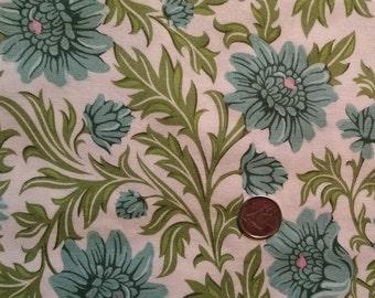 FL001 ~ Floral fabric Aqua flowers Green leaves Cotton fabric