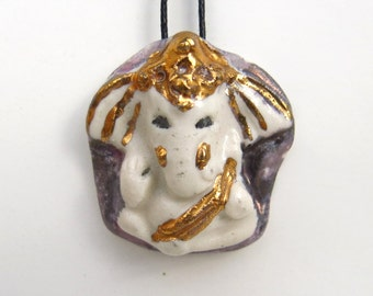 Ceramic Ganesh Ganesha Pendant White Elephant with Gold Trim