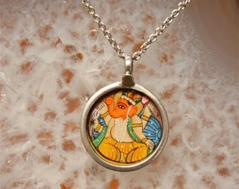 Talisman Necklace - Ganesh Framed in Silver
