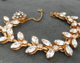 Vintage Miriam Haskell Rhinestone Bracelet, Signed