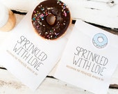 White Baby Sprinkle Favor Bags - Wax Lined -  Baby Sprinkle Donut Bag - With Donut Sticker - Pack of 12