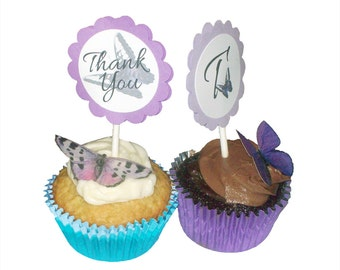 Butterfly Cupcake Toppers in Custom Colors - Personalized Cupcake Toppers - Cupcake Party Decorations - Thank You Toppers for Party Cupcakes