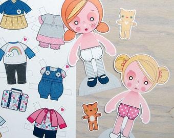 Printable PDF - Paper Dolls Ginger & Blondie
