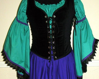 Odd Bodkin Wench Bodice in Black Velveteen - blkvel5