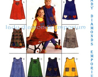 500 McCalls 8349 Childs Cute Loose- Fitting A-line Jumper Variations & Appliques Girls size 2 3 Easy Vintage Express Yourself Sewing Pattern