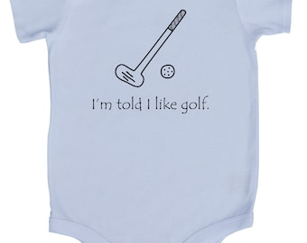 I'm Told I Like Golf Graphic Baby Bodysuit