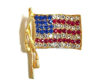 Red, White and Blue Rhinestone Flag Brooch Vintage Patriotic Pin