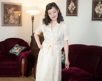 Vintage 1930s Dressing Gown - Wedding Bells Novelty Print Ivory Jacquard Peaked Shoulders and Ruffles Late 30s Wrap Robe