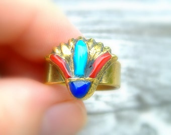 Ancient Egyptian Inlaid Copper *CLEOPATRA NILE LOTUS* Adjustable Vintage Ring Hand Crafted Artisan Adjustable Jewellery
