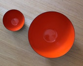 Danish Modern Krenit Enamelware Bowls, Herbert Krenchel Design, Red and Black Enamel, Scandinavian Modern Bowls, Krenit Salad Bowl