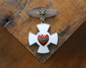 Antique Medal, Hearts and Crowns, 1939 Rebekah Lodge Medal, Decoration of Chivalry Medallion, IOOF Patriarchs Militant, Fraternal Medallion