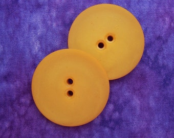 ENoRMoUS Yellow Sewing Buttons 40mm - 1 1/2 inch PAiR of Saffron Gold Autumn Squash Vintage Buttons - 2 VTG NOS Yellow Plastic Buttons PL282