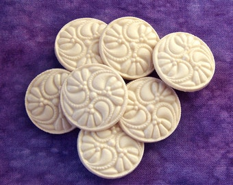 Swirling Flower Buttons, 24mm 1 inch - Carved Warm White Floral Plastic Buttons - 7 VTG NOS Elegant Cream White Vintage Sewing Buttons PL308