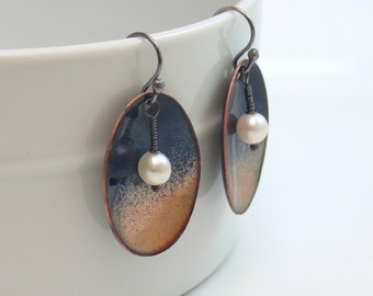 Enameled Metal Earrings with Pearls, Copper Metalwork with Kiln-fired Enamel Color and Pearls, Atmosphere Series, Twilight Dark Blue