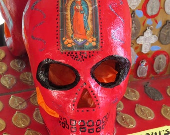 Day of the Dead Sparkly SANTA MUERTE Guadalupe Calavera (skull) by MARIPOSAFUERTE