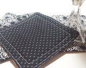 Black and White Fabric Coaster Set - Reversible - all cotton, large size