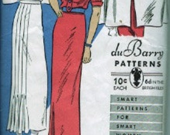 c. 1936 duBarry 1144 sewing pattern Dress and cape Bust 32