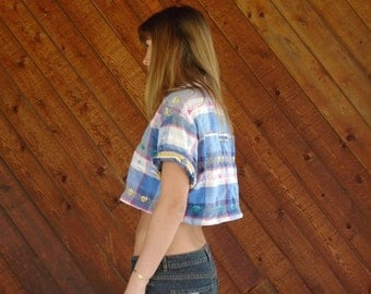 Heart Plaid Printed SS Crop Top Shirt - Vintage 90s - M L