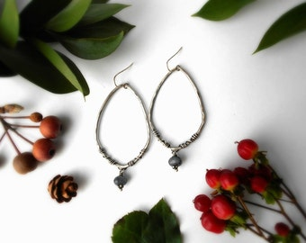 quartz hoop earrings, sterling silver, twisted wire hoops, hammered hoops, gray gemstone, decorative hoop earrings, READY TO SHIP