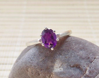 Amethyst Ring Sterling Silver Oval February Birthstone Ready to ship size 6