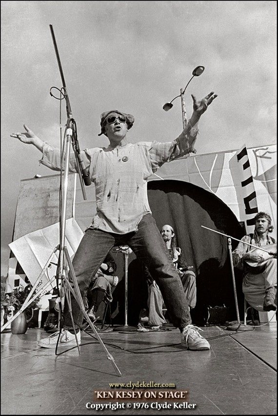 KEN KESEY, On Stage, Clyde Keller Photo, Featured on the Huffington Post, Fine Art Print, Black and White, vintage 1976 image