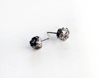 Silver Stud Earrings / Grey Earrings / Raw Earrings / Rustic Organic Look