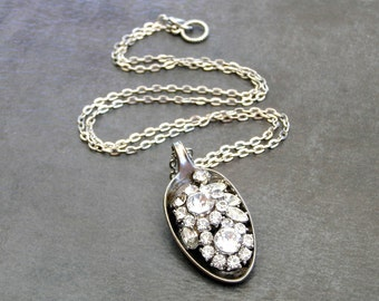 Vintage Silver Rhinestone Necklace,Bling Jewelry, Vintage Spoon Pendant