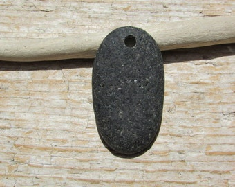 BLACK Beach Stone Pendant Top Drilled Lake Stone 4mm