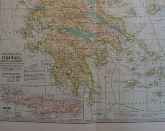 1899 Map Greece Crete and Samos - Vintage Antique Map Great for Framing 100 Years Old